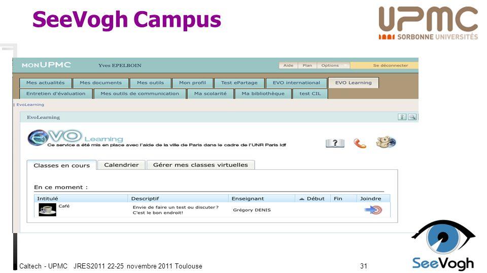 Caltech - UPMC JRES2011 22-25 novembre 2011 Toulouse3131 SeeVogh Campus