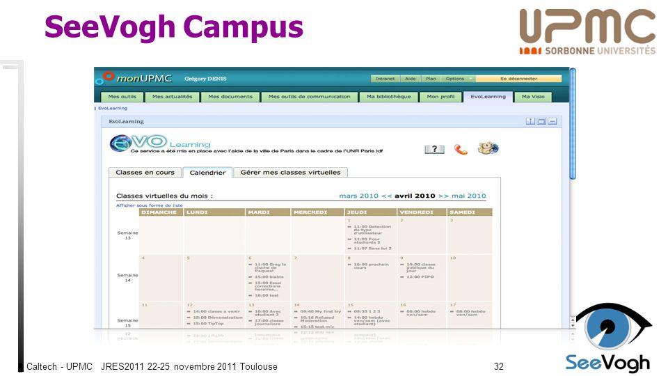 Caltech - UPMC JRES2011 22-25 novembre 2011 Toulouse3232 SeeVogh Campus