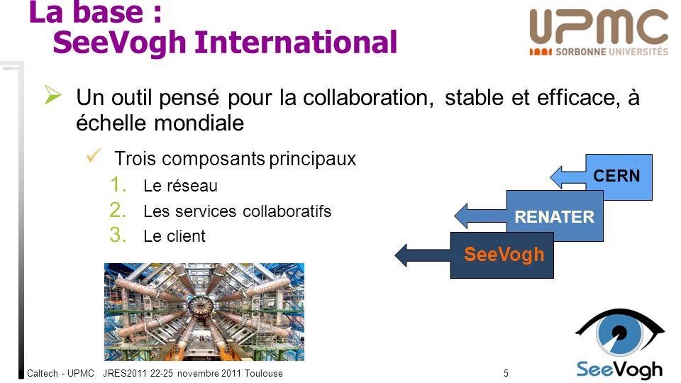 Caltech - UPMC JRES2011 22-25 novembre 2011 Toulouse1616 Buts : SeeVogh Campus Fournir un outil denseignement et déchange à distance, en temps réel Texte, Audio, Vidéo, bureau, TBI, fichiers, enregistrement.