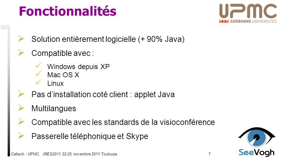 Caltech - UPMC JRES2011 22-25 novembre 2011 Toulouse77 Fonctionnalités Solution entièrement logicielle (+ 90% Java) Compatible avec : Windows depuis XP Mac OS X Linux Pas dinstallation coté client : applet Java Multilangues Compatible avec les standards de la visioconférence Passerelle téléphonique et Skype