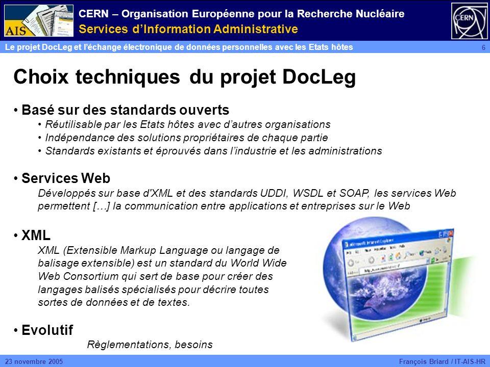 CERN – Organisation Européenne pour la Recherche Nucléaire Services dInformation Administrative Le projet DocLeg et léchange électronique de données personnelles avec les Etats hôtes 6 François Briard / IT-AIS-HR23 novembre 2005 Choix techniques du projet DocLeg Basé sur des standards ouverts Réutilisable par les Etats hôtes avec dautres organisations Indépendance des solutions propriétaires de chaque partie Standards existants et éprouvés dans lindustrie et les administrations Services Web Développés sur base d XML et des standards UDDI, WSDL et SOAP, les services Web permettent […] la communication entre applications et entreprises sur le Web XML XML (Extensible Markup Language ou langage de balisage extensible) est un standard du World Wide Web Consortium qui sert de base pour créer des langages balisés spécialisés pour décrire toutes sortes de données et de textes.
