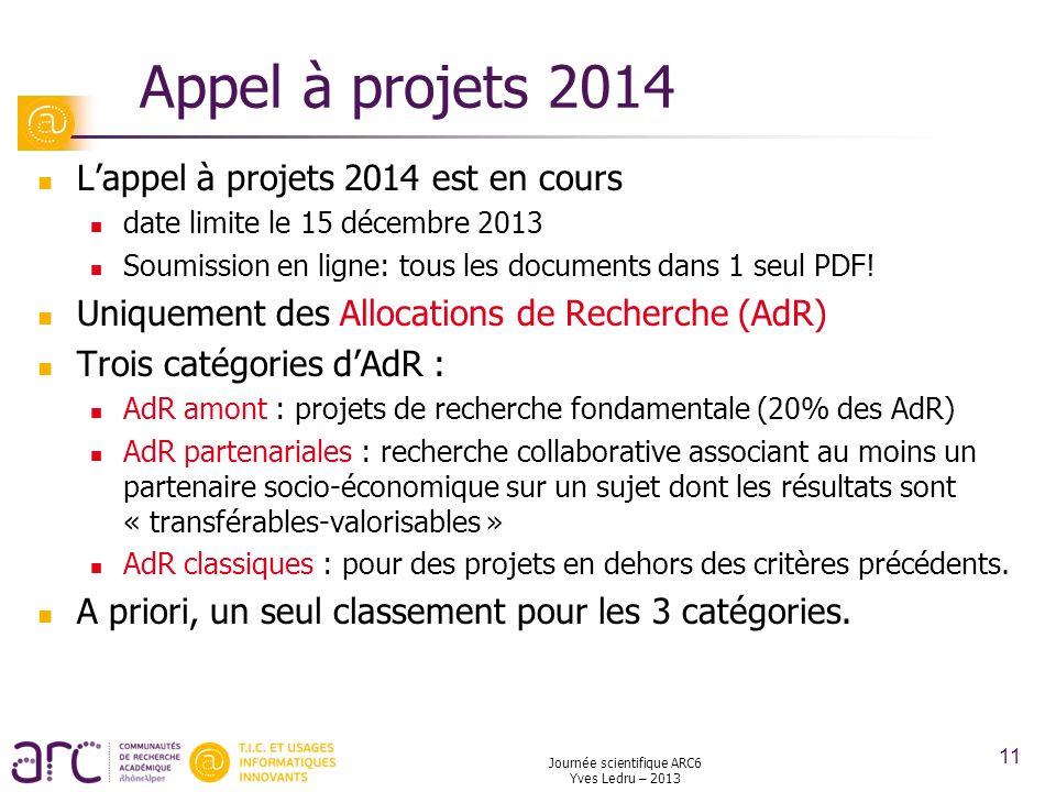 Journée scientifique ARC6 Yves Ledru – 2013 11 Appel à projets 2014 Lappel à projets 2014 est en cours date limite le 15 décembre 2013 Soumission en l