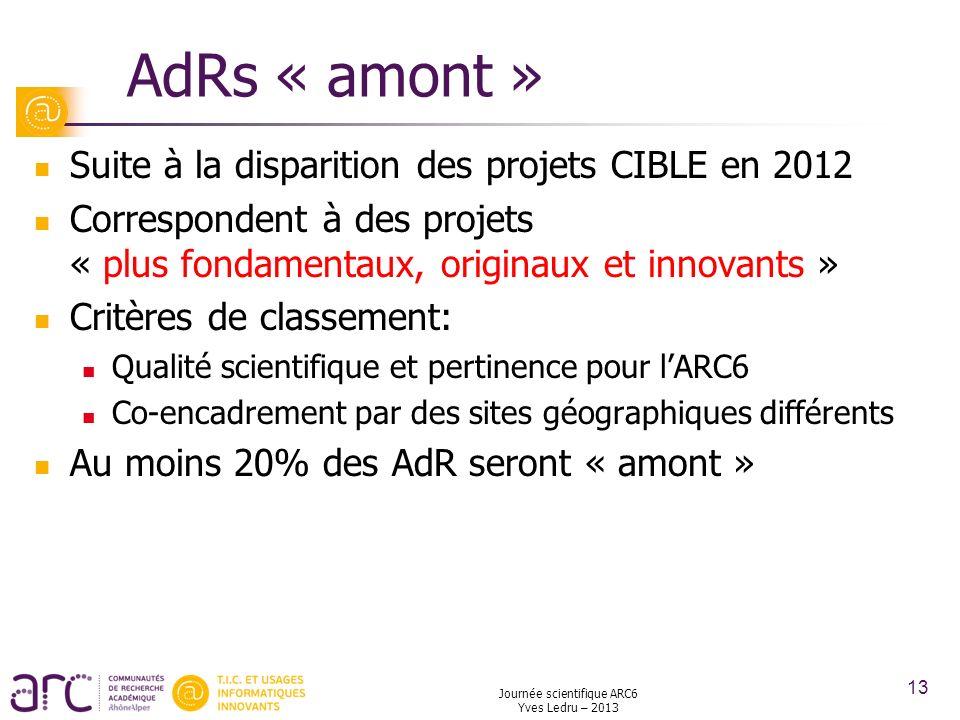 Journée scientifique ARC6 Yves Ledru – 2013 13 AdRs « amont » Suite à la disparition des projets CIBLE en 2012 Correspondent à des projets « plus fond