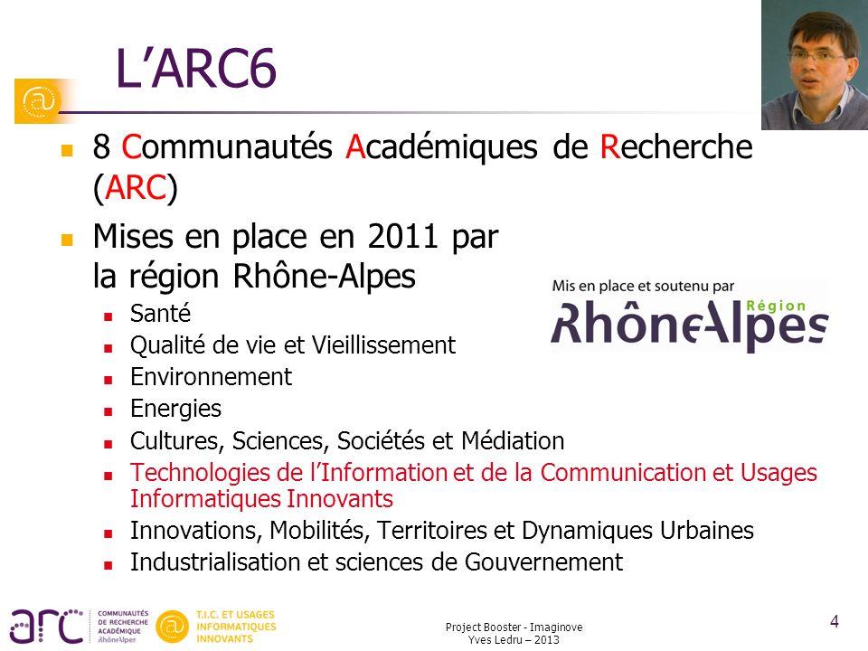 LARC6 8 Communautés Académiques de Recherche (ARC) Mises en place en 2011 par la région Rhône-Alpes Santé Qualité de vie et Vieillissement Environneme