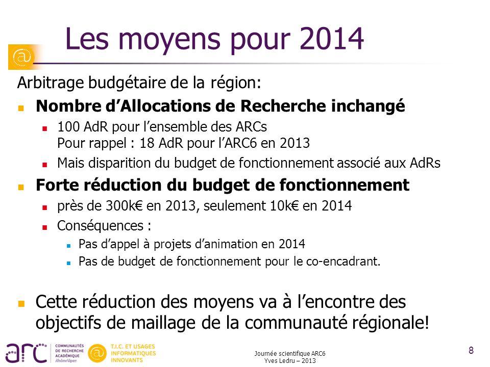 Les moyens pour 2014 Arbitrage budgétaire de la région: Nombre dAllocations de Recherche inchangé 100 AdR pour lensemble des ARCs Pour rappel : 18 AdR