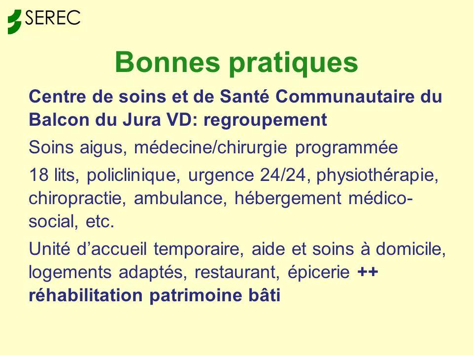 Bonnes pratiques Centre de soins et de Santé Communautaire du Balcon du Jura VD: regroupement Soins aigus, médecine/chirurgie programmée 18 lits, policlinique, urgence 24/24, physiothérapie, chiropractie, ambulance, hébergement médico- social, etc.