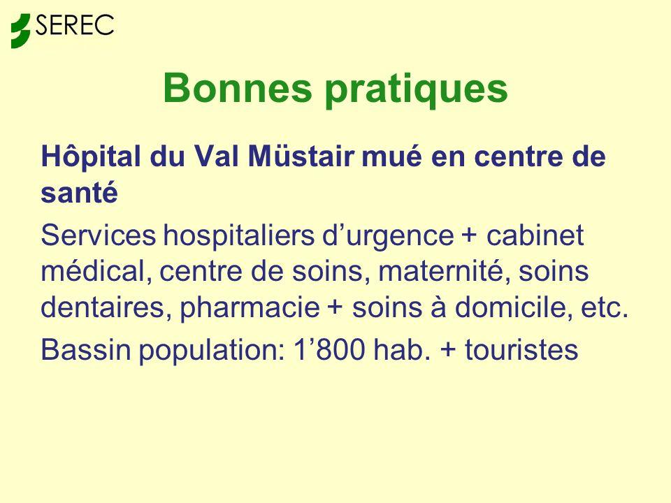 Bonnes pratiques Hôpital du Val Müstair mué en centre de santé Services hospitaliers durgence + cabinet médical, centre de soins, maternité, soins dentaires, pharmacie + soins à domicile, etc.