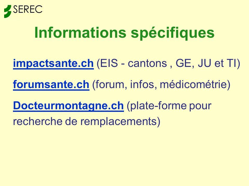 Informations spécifiques impactsante.chimpactsante.ch (EIS - cantons, GE, JU et TI) forumsante.chforumsante.ch (forum, infos, médicométrie) Docteurmontagne.chDocteurmontagne.ch (plate-forme pour recherche de remplacements)