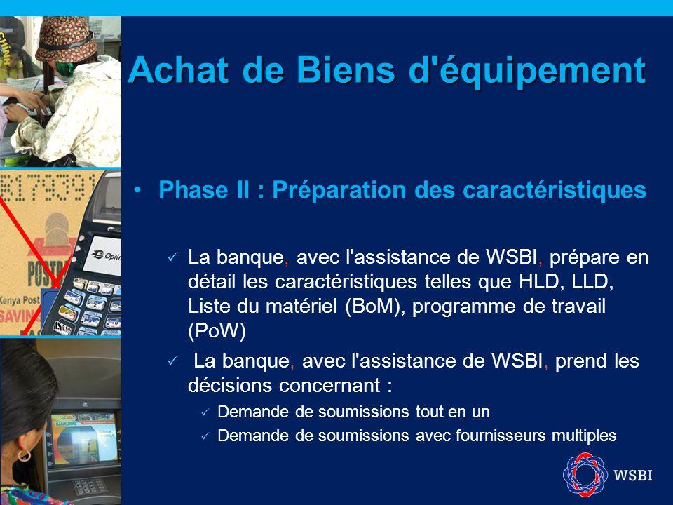 Phase II : Préparation des caractéristiques La banque, avec l'assistance de WSBI, prépare en détail les caractéristiques telles que HLD, LLD, Liste du