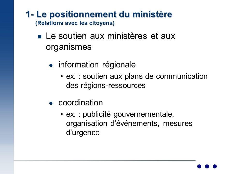 n Le soutien aux ministères et aux organismes information régionale ex.