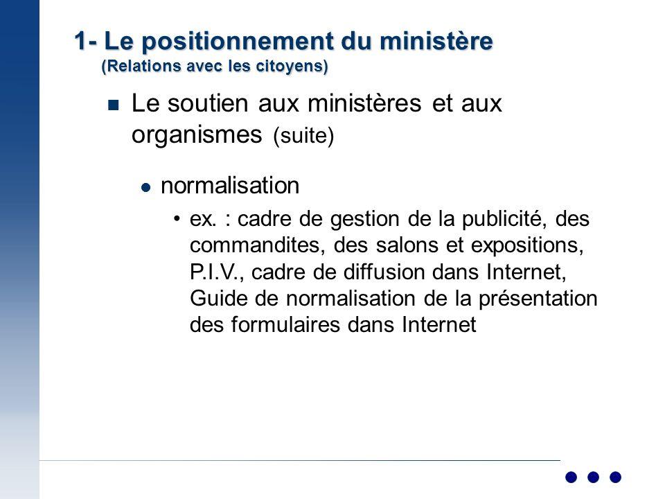 n Le soutien aux ministères et aux organismes (suite) normalisation ex.