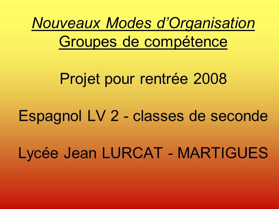 Nouveaux Modes dOrganisation Groupes de compétence Projet pour rentrée 2008 Espagnol LV 2 - classes de seconde Lycée Jean LURCAT - MARTIGUES