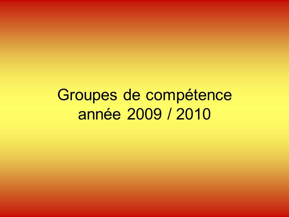 Groupes de compétence année 2009 / 2010