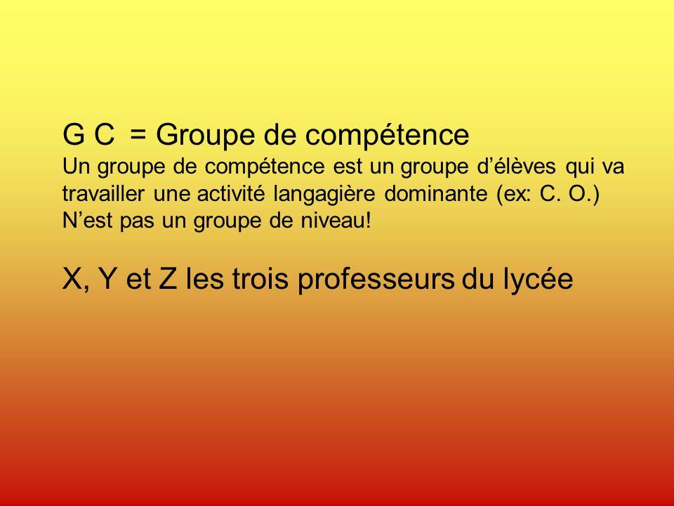 G C = Groupe de compétence Un groupe de compétence est un groupe délèves qui va travailler une activité langagière dominante (ex: C.