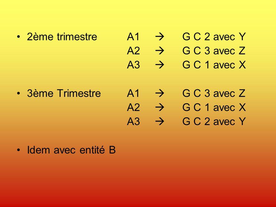 2ème trimestreA1 G C 2 avec Y A2 G C 3 avec Z A3 G C 1 avec X 3ème TrimestreA1 G C 3 avec Z A2 G C 1 avec X A3 G C 2 avec Y Idem avec entité B