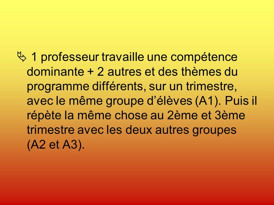 1 professeur travaille une compétence dominante + 2 autres et des thèmes du programme différents, sur un trimestre, avec le même groupe délèves (A1).
