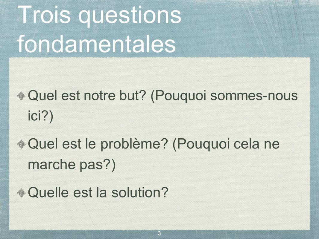 3 Trois questions fondamentales Quel est notre but? (Pouquoi sommes-nous ici?) Quel est le problème? (Pouquoi cela ne marche pas?) Quelle est la solut
