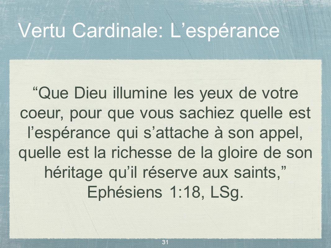 31 Vertu Cardinale: Lespérance Que Dieu illumine les yeux de votre coeur, pour que vous sachiez quelle est lespérance qui sattache à son appel, quelle