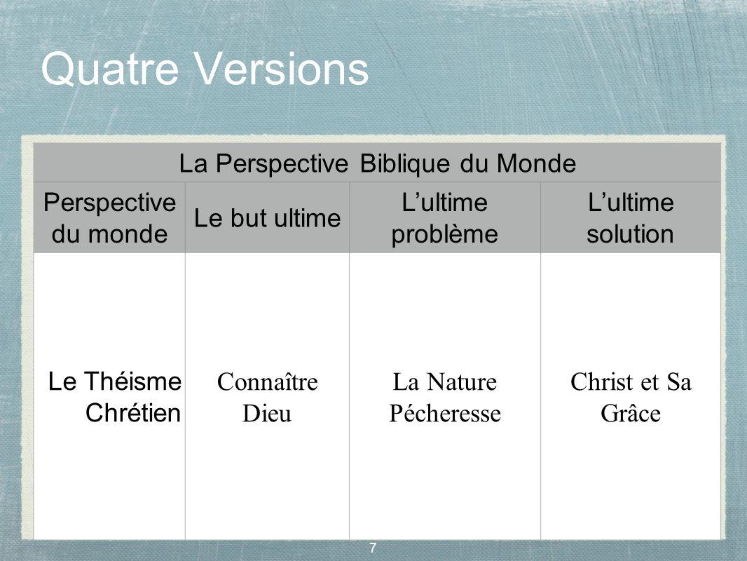 7 Quatre Versions La Perspective Biblique du Monde Perspective du monde Le but ultime Lultime problème Lultime solution Le Théisme Chrétien Connaître