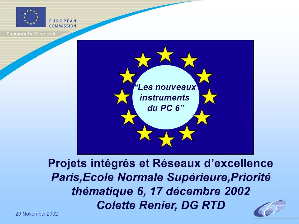 26 November 2002 Les nouveaux instruments du PC 6 Projets intégrés et Réseaux dexcellence Paris,Ecole Normale Supérieure,Priorité thématique 6, 17 décembre 2002 Colette Renier, DG RTD