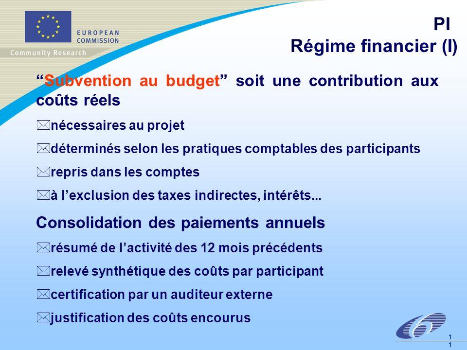 1 PI Régime financier (I) Subvention au budget soit une contribution aux coûts réels *nécessaires au projet *déterminés selon les pratiques comptables des participants *repris dans les comptes *à lexclusion des taxes indirectes, intérêts...