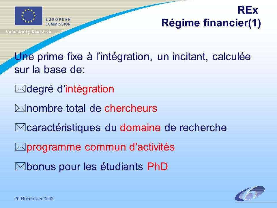 26 November 2002 REx Régime financier(1) Une prime fixe à lintégration, un incitant, calculée sur la base de: *degré dintégration *nombre total de chercheurs *caractéristiques du domaine de recherche *programme commun d activités *bonus pour les étudiants PhD