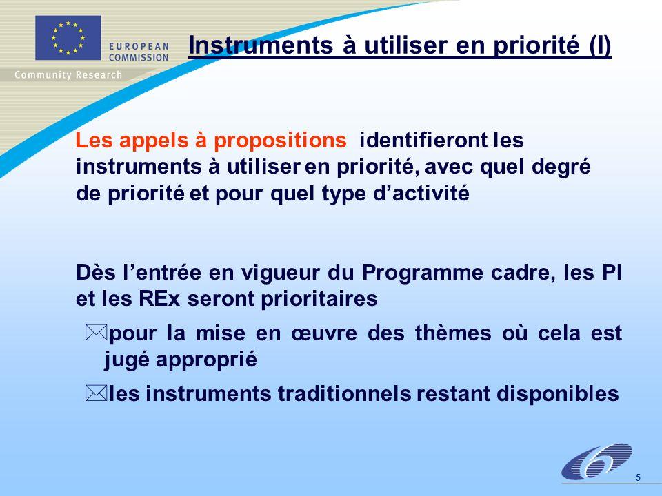 6 Instruments à utiliser en priorité (2) En 2004, la Commission organisera une évaluation indépendante des instruments *éventuellement: modification de leur part respective