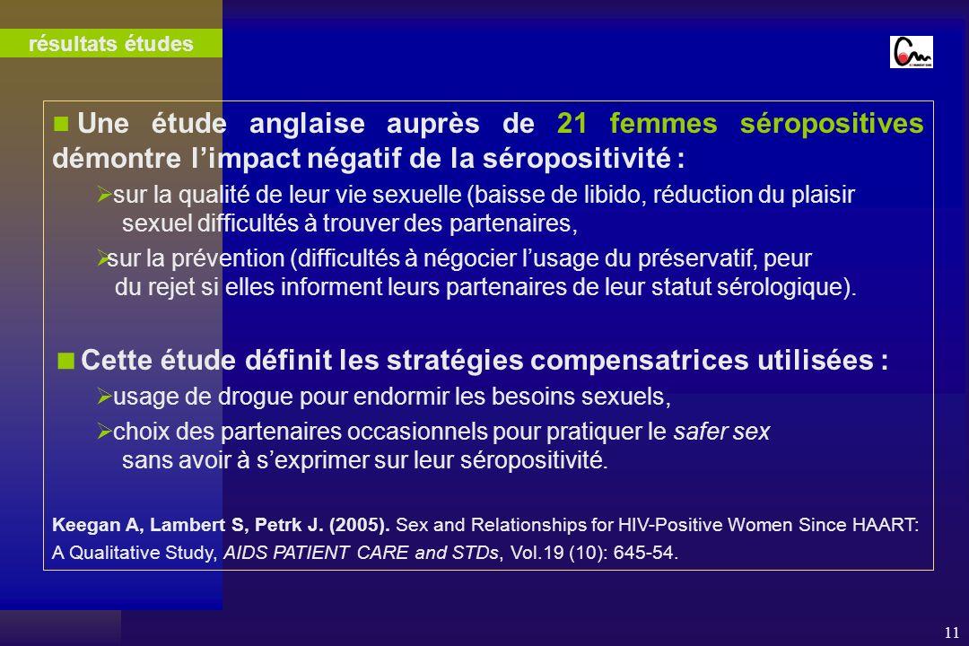 11 Une étude anglaise auprès de 21 femmes séropositives démontre limpact négatif de la séropositivité : sur la qualité de leur vie sexuelle (baisse de