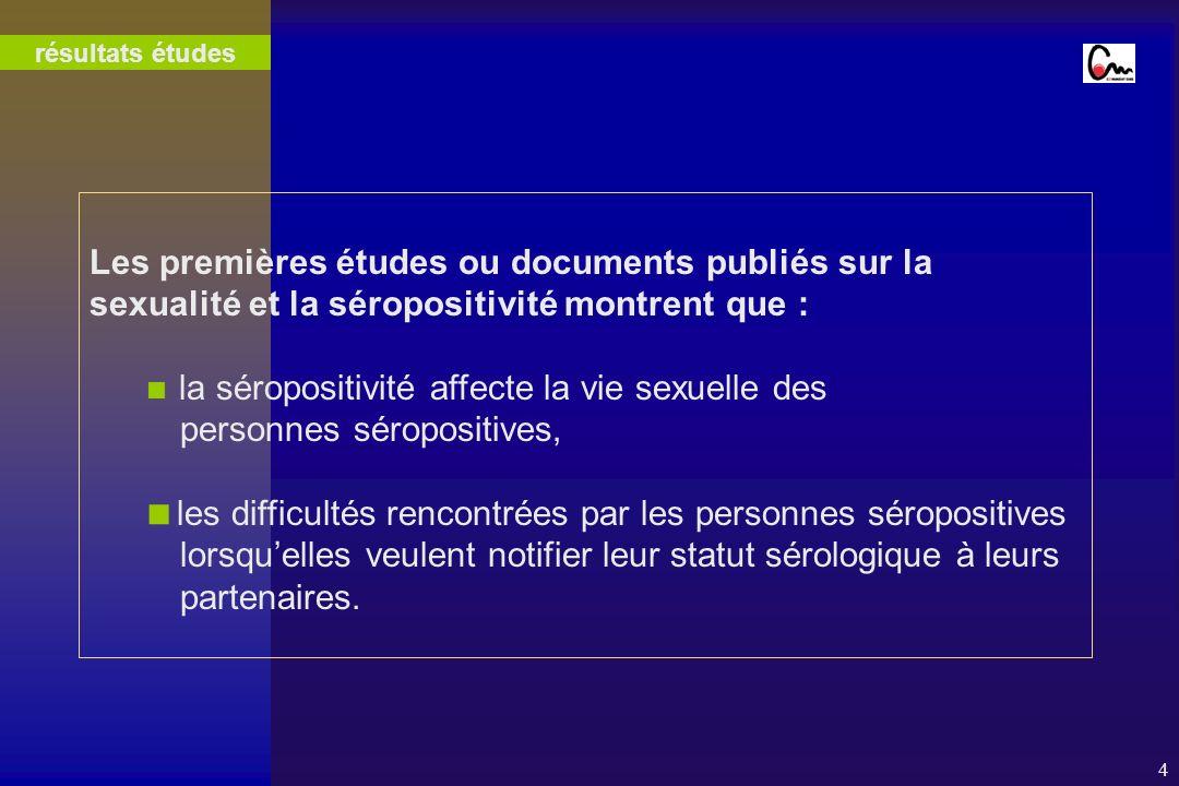 4 Les premières études ou documents publiés sur la sexualité et la séropositivité montrent que : la séropositivité affecte la vie sexuelle des personn