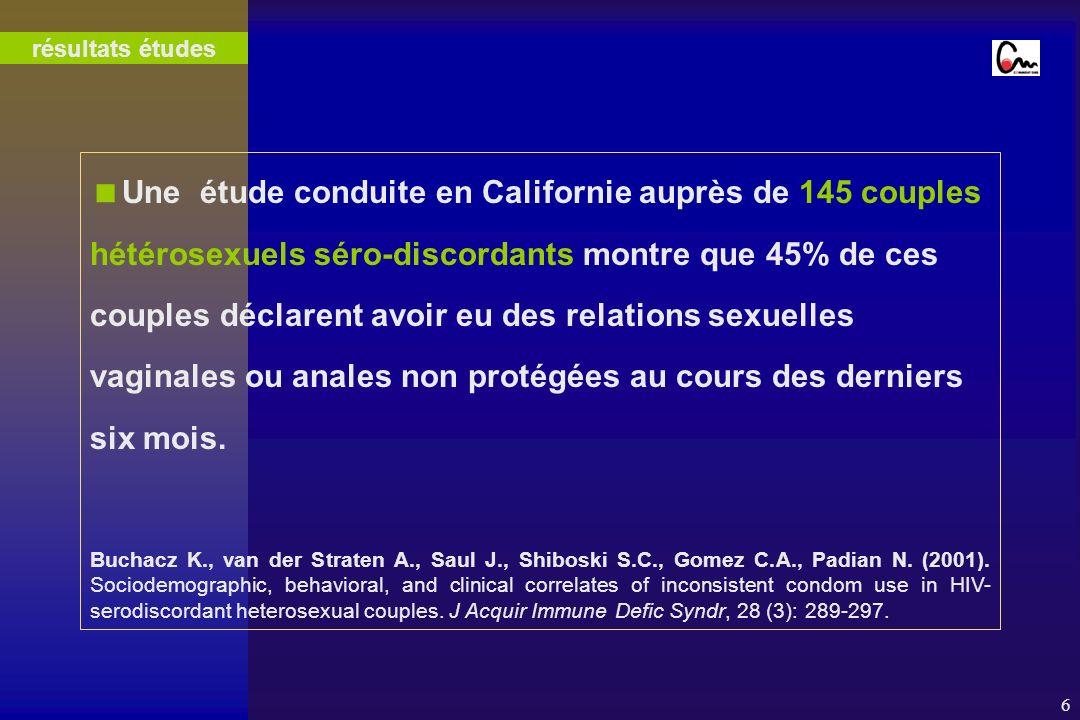 6 Une étude conduite en Californie auprès de 145 couples hétérosexuels séro-discordants montre que 45% de ces couples déclarent avoir eu des relations sexuelles vaginales ou anales non protégées au cours des derniers six mois.