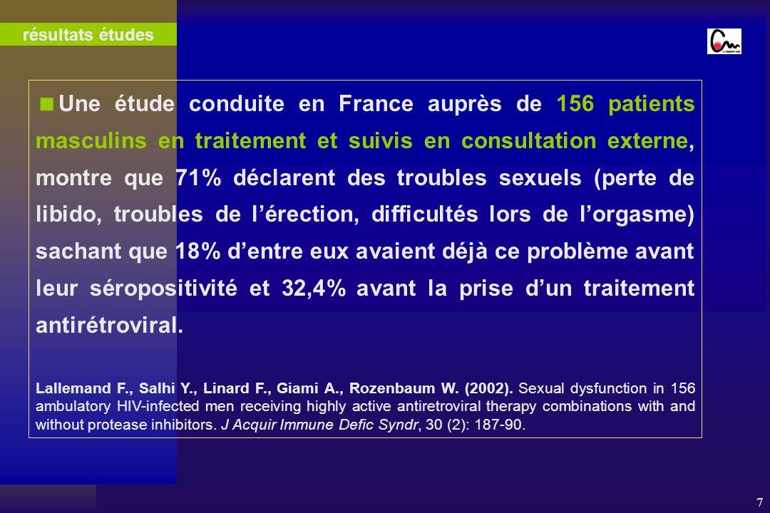 7 Une étude conduite en France auprès de 156 patients masculins en traitement et suivis en consultation externe, montre que 71% déclarent des troubles