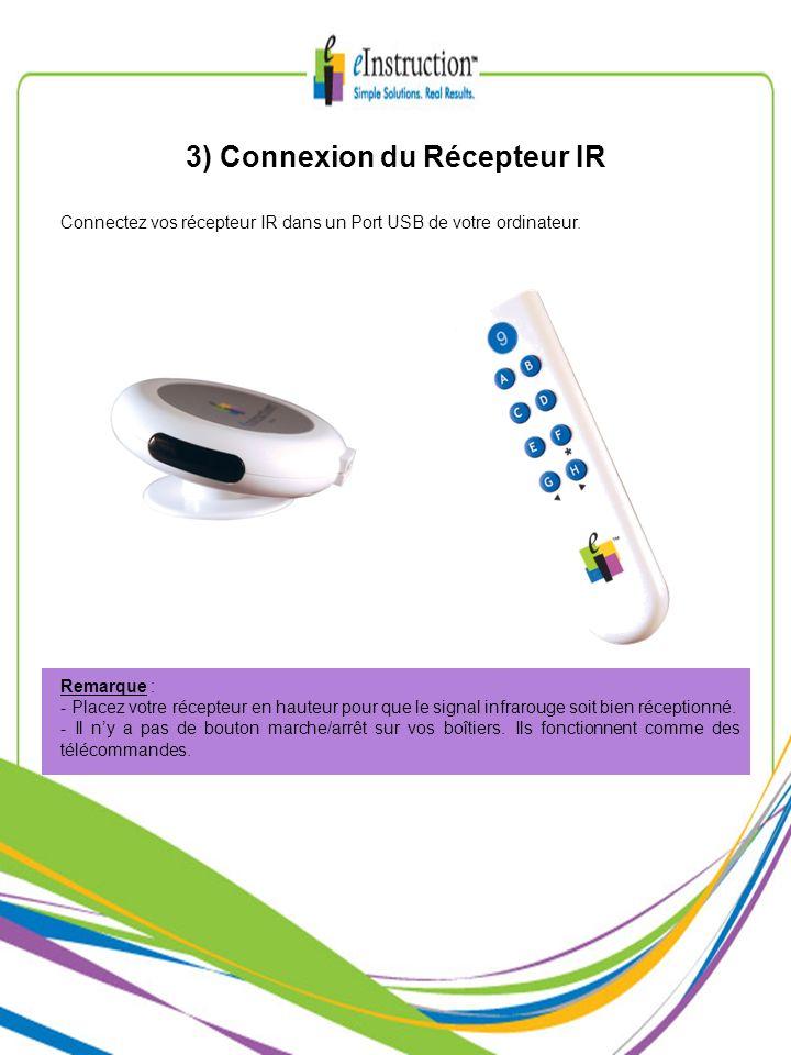 3) Connexion du Récepteur IR Connectez vos récepteur IR dans un Port USB de votre ordinateur. Remarque : - Placez votre récepteur en hauteur pour que
