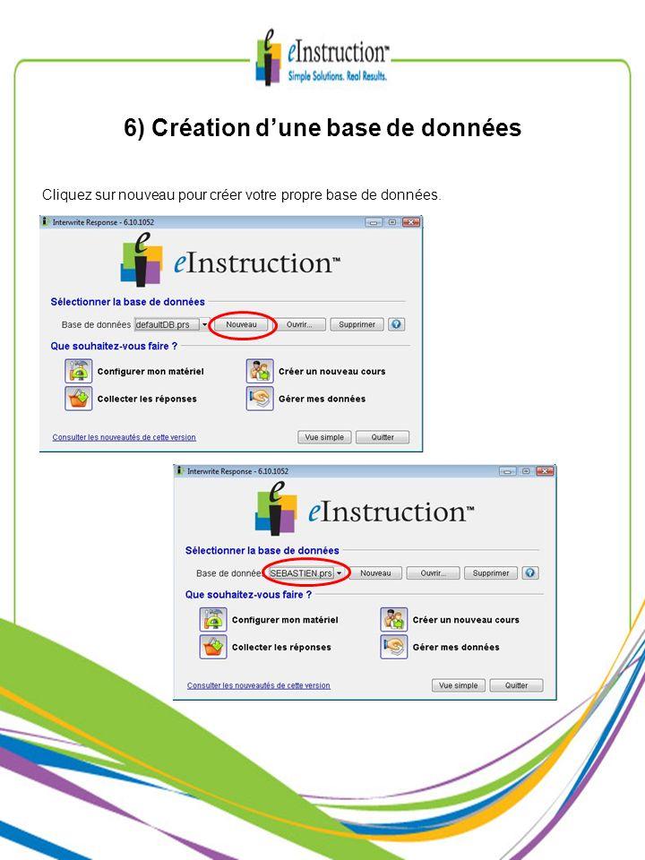 6) Création dune base de données Cliquez sur nouveau pour créer votre propre base de données.