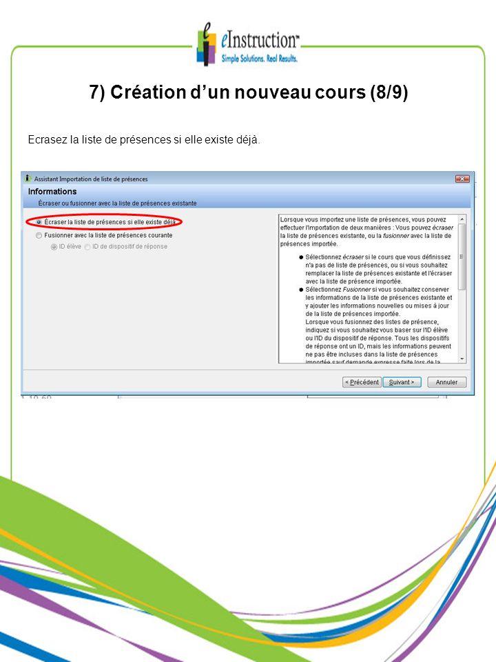 7) Création dun nouveau cours (8/9) Ecrasez la liste de présences si elle existe déjà.