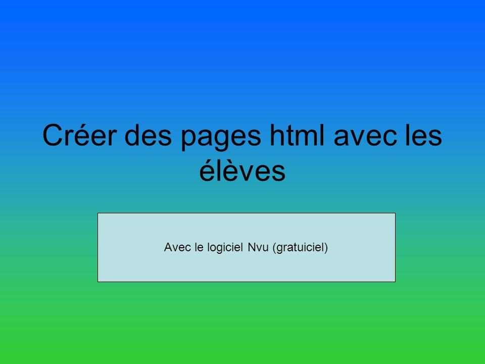 Créer des pages html avec les élèves Avec le logiciel Nvu (gratuiciel)
