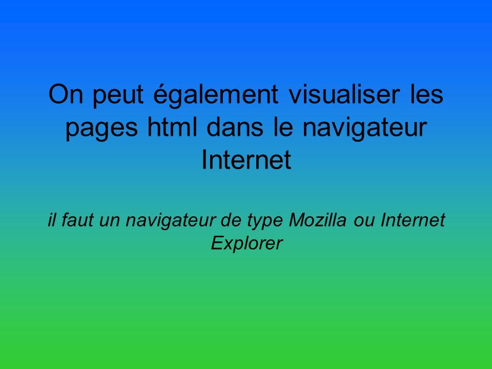 On peut également visualiser les pages html dans le navigateur Internet il faut un navigateur de type Mozilla ou Internet Explorer