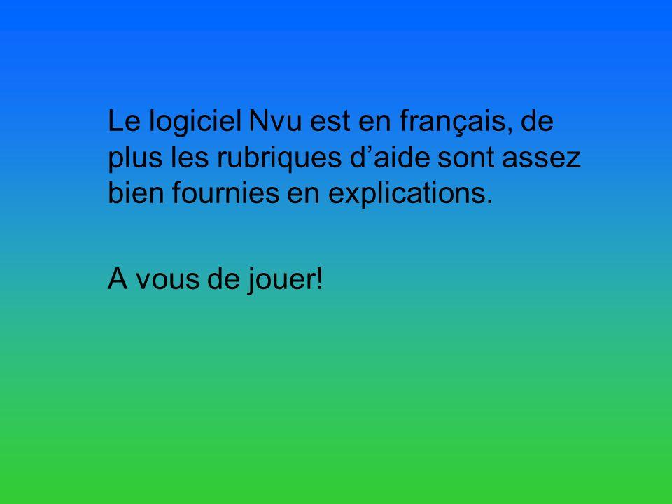 Le logiciel Nvu est en français, de plus les rubriques daide sont assez bien fournies en explications.