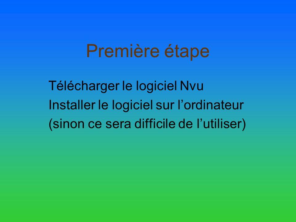Première étape Télécharger le logiciel Nvu Installer le logiciel sur lordinateur (sinon ce sera difficile de lutiliser)