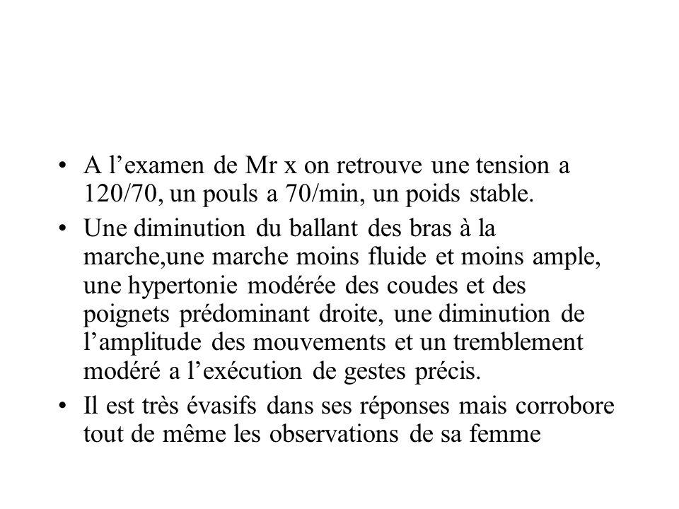 A lexamen de Mr x on retrouve une tension a 120/70, un pouls a 70/min, un poids stable. Une diminution du ballant des bras à la marche,une marche moin