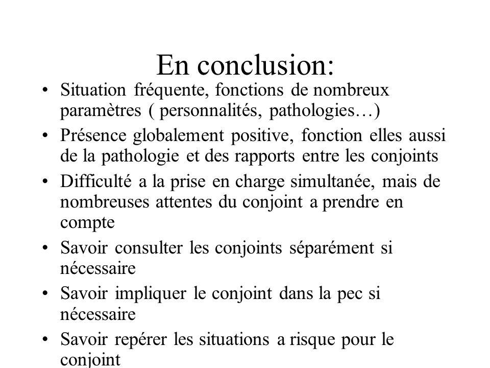 En conclusion: Situation fréquente, fonctions de nombreux paramètres ( personnalités, pathologies…) Présence globalement positive, fonction elles auss