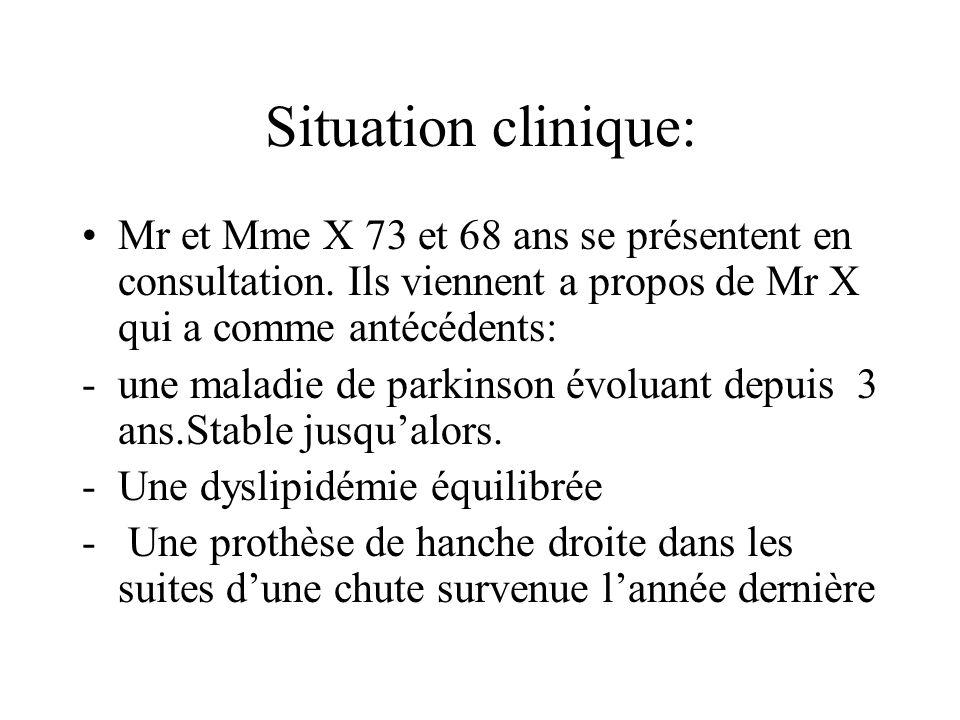 Situation clinique: Mr et Mme X 73 et 68 ans se présentent en consultation. Ils viennent a propos de Mr X qui a comme antécédents: -une maladie de par