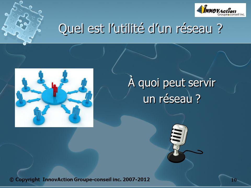 © Copyright InnovAction Groupe-conseil inc. 2007-2012 10 Quel est lutilité dun réseau .
