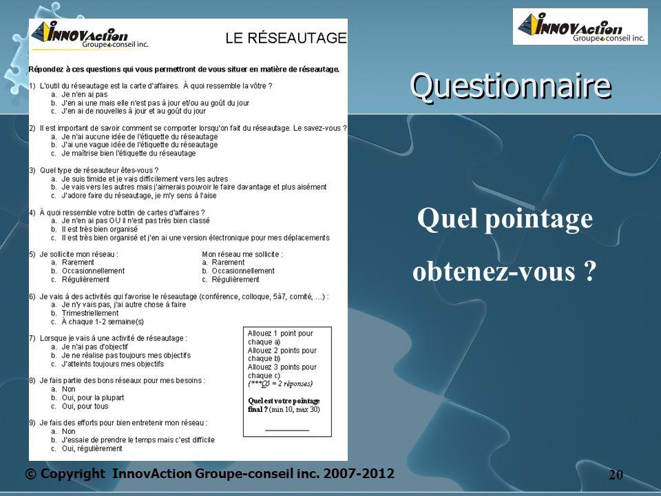 © Copyright InnovAction Groupe-conseil inc. 2007-2012 20 Questionnaire Quel pointage obtenez-vous