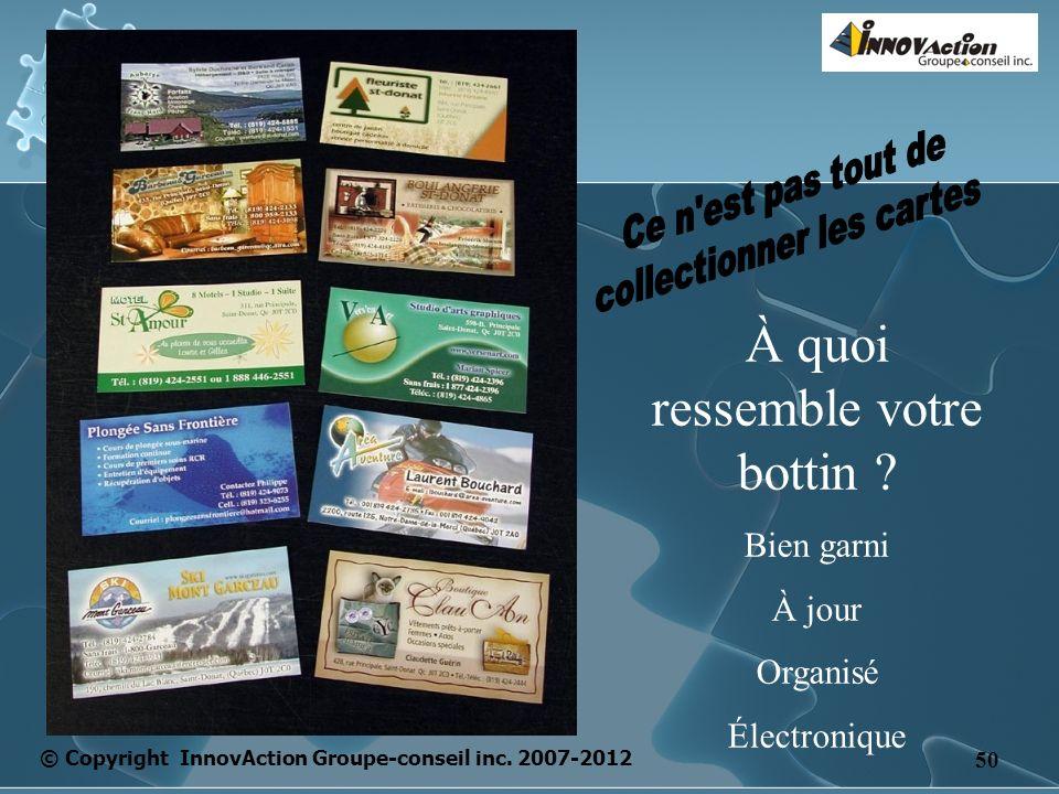 © Copyright InnovAction Groupe-conseil inc. 2007-2012 50 À quoi ressemble votre bottin .