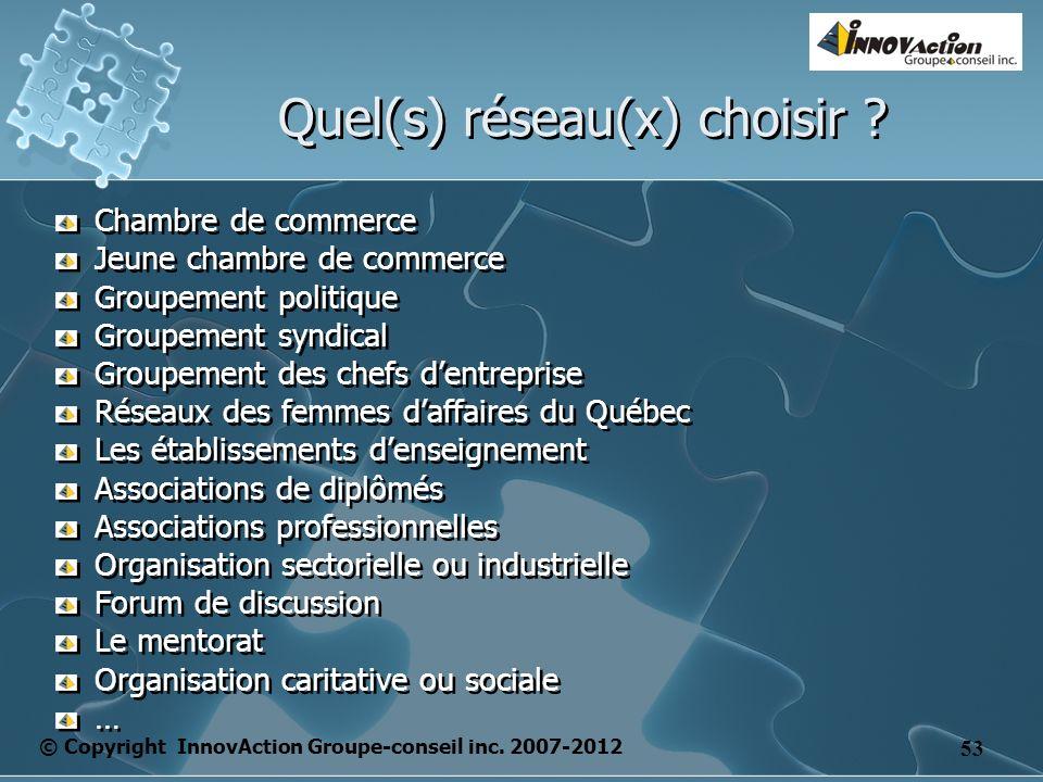 © Copyright InnovAction Groupe-conseil inc. 2007-2012 53 Quel(s) réseau(x) choisir ? Chambre de commerce Jeune chambre de commerce Groupement politiqu