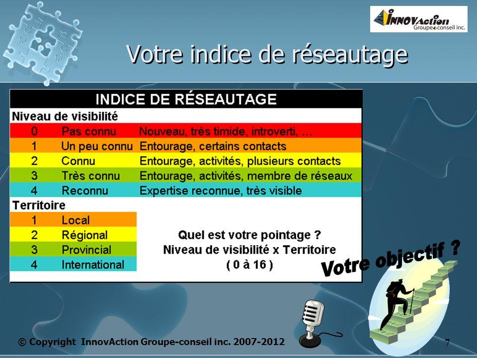 © Copyright InnovAction Groupe-conseil inc. 2007-2012 7 Votre indice de réseautage