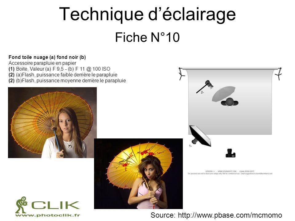 Technique déclairage Fiche N°10 Fond toile nuage (a) fond noir (b) Accessoire parapluie en papier (1) Boite, Valeur (a) F 9,5 - (b) F 11 @ 100 ISO (2)