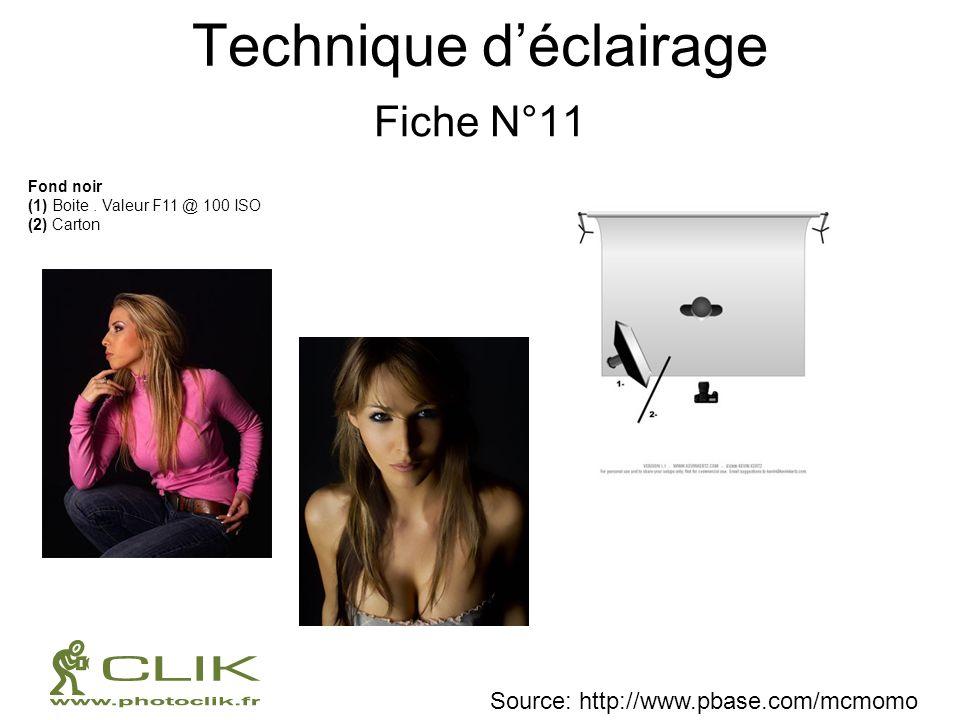 Technique déclairage Fiche N°11 Fond noir (1) Boite. Valeur F11 @ 100 ISO (2) Carton Source: http://www.pbase.com/mcmomo