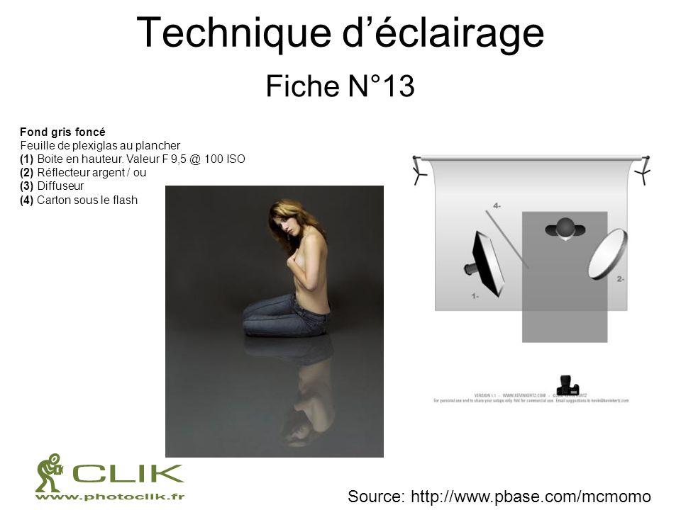 Technique déclairage Fiche N°13 Fond gris foncé Feuille de plexiglas au plancher (1) Boite en hauteur. Valeur F 9,5 @ 100 ISO (2) Réflecteur argent /