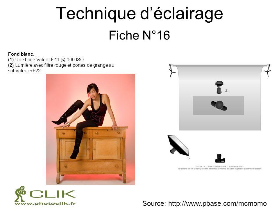 Technique déclairage Fiche N°16 Fond blanc. (1) Une boite Valeur F 11 @ 100 ISO (2) Lumière avec filtre rouge et portes de grange au sol Valeur +F22 S
